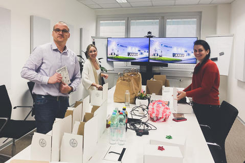 Czech Prologis Team preparing gifts for charity action