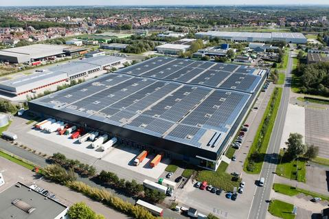 Solar panels at Prologis facility, Belgium